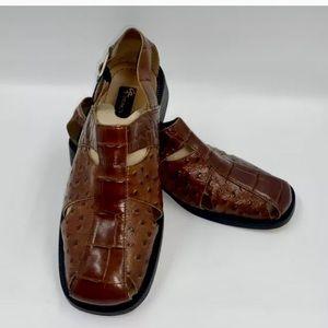 Stacy Adams Leather Croc/Ostrich Design Sandals